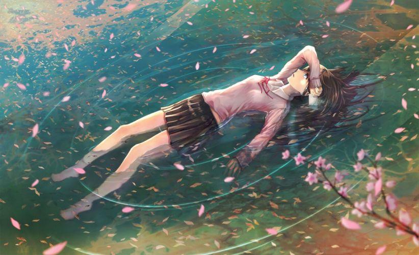 branch Tears letter schoolgirl Petals Art water anime girl Sakura wallpaper