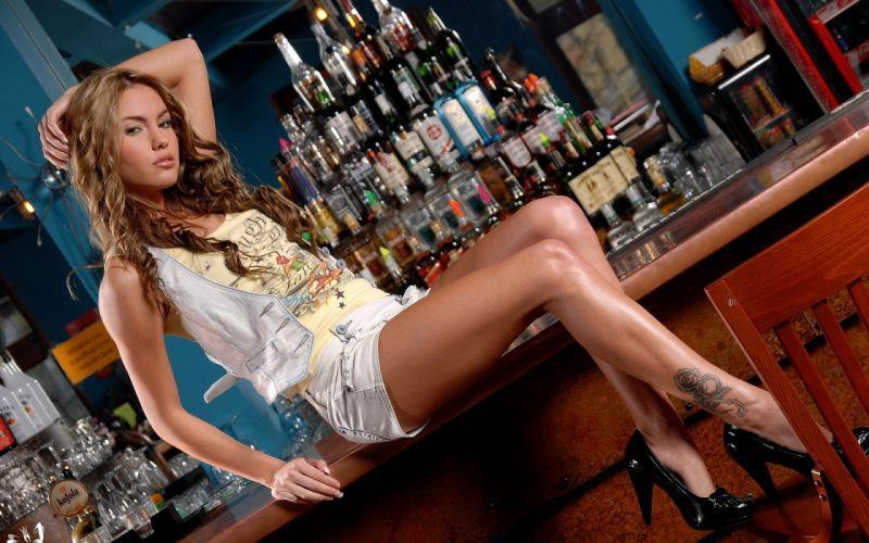 model girl vest shirt skirt tattoos shoes heels a concierge bar bottle chair wallpaper