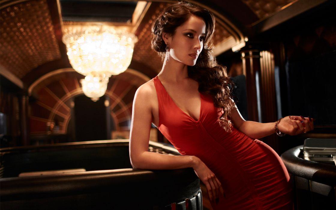 girl brunette actress model red dress  wallpaper