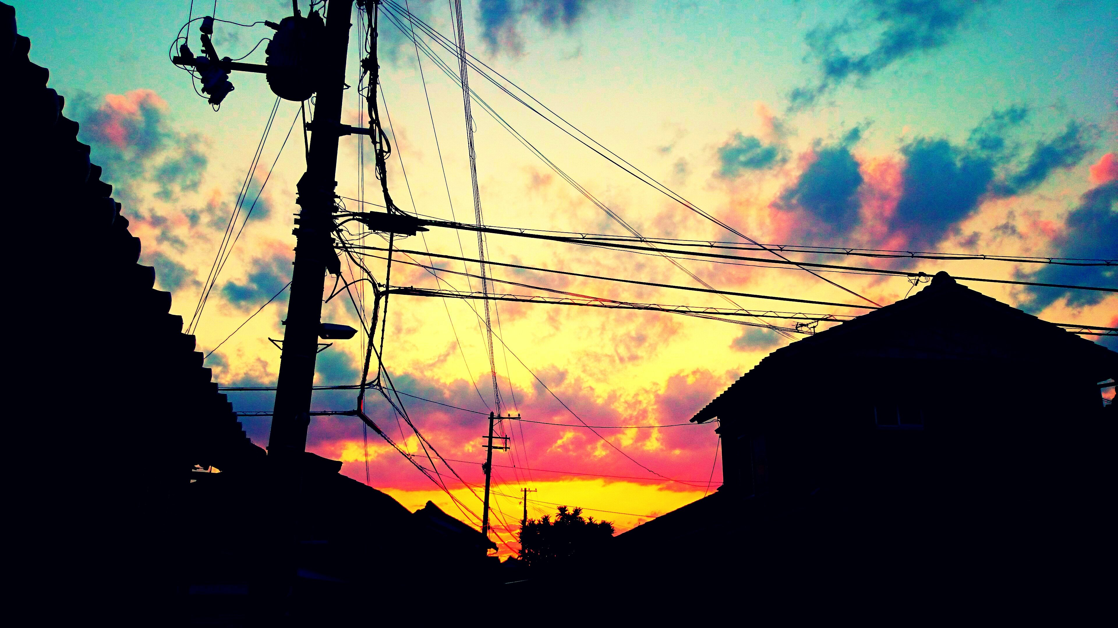 Anime Sky Cloud Sunset Sun Light Blue Pink Wallpaper