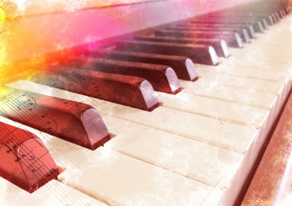 piano desktop light rainbow music yellow pink wallpaper