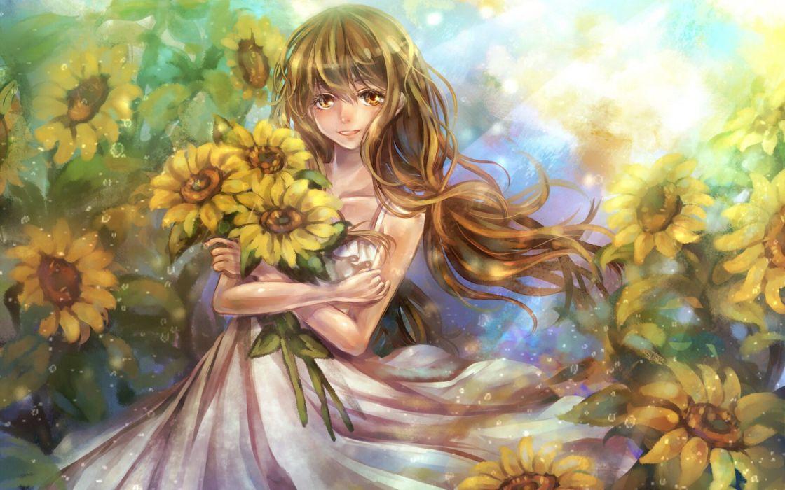 girl Sunflowers Flowers smile bouquet wallpaper