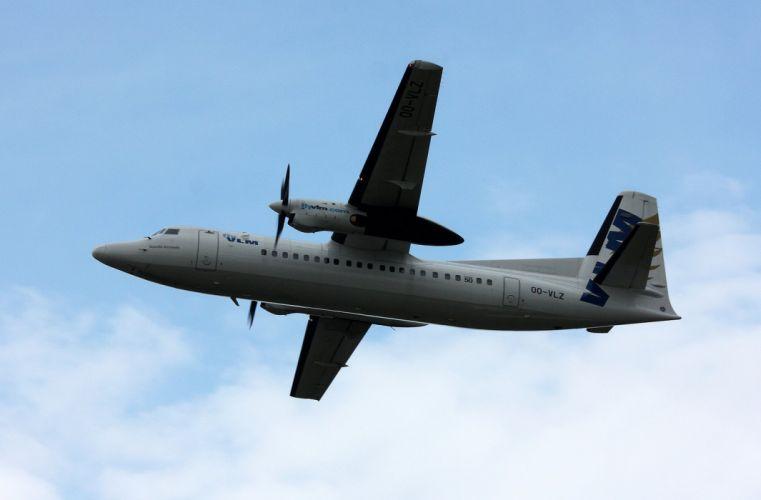 aircrafts airliner airplane fokker-50 plane transport wallpaper