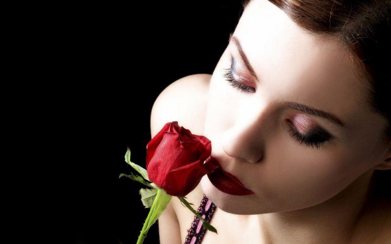 Roses- Red Beauty - model -beautiful - girl wallpaper