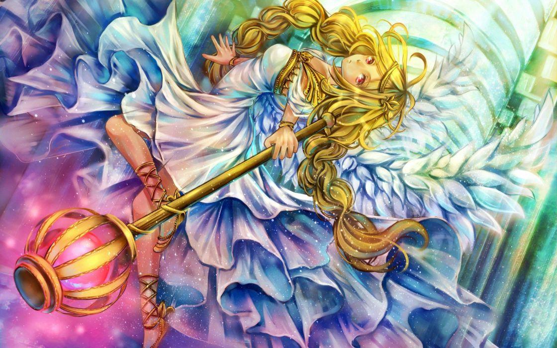 Art girl wings staff scope magic dress wallpaper