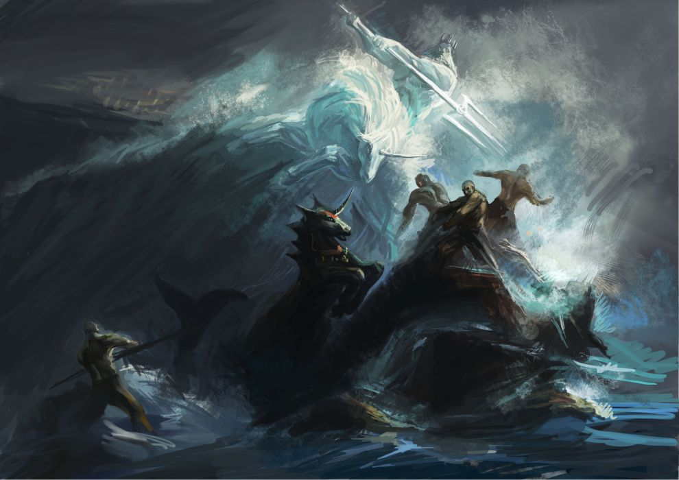 Art Battle Sea Storm Storm Ocean Waves Poseidon Unicorn