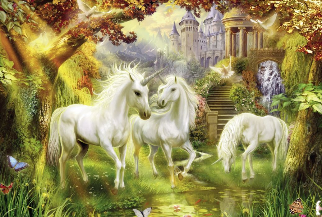 unicorn fantasy horse tree forest animal wallpaper
