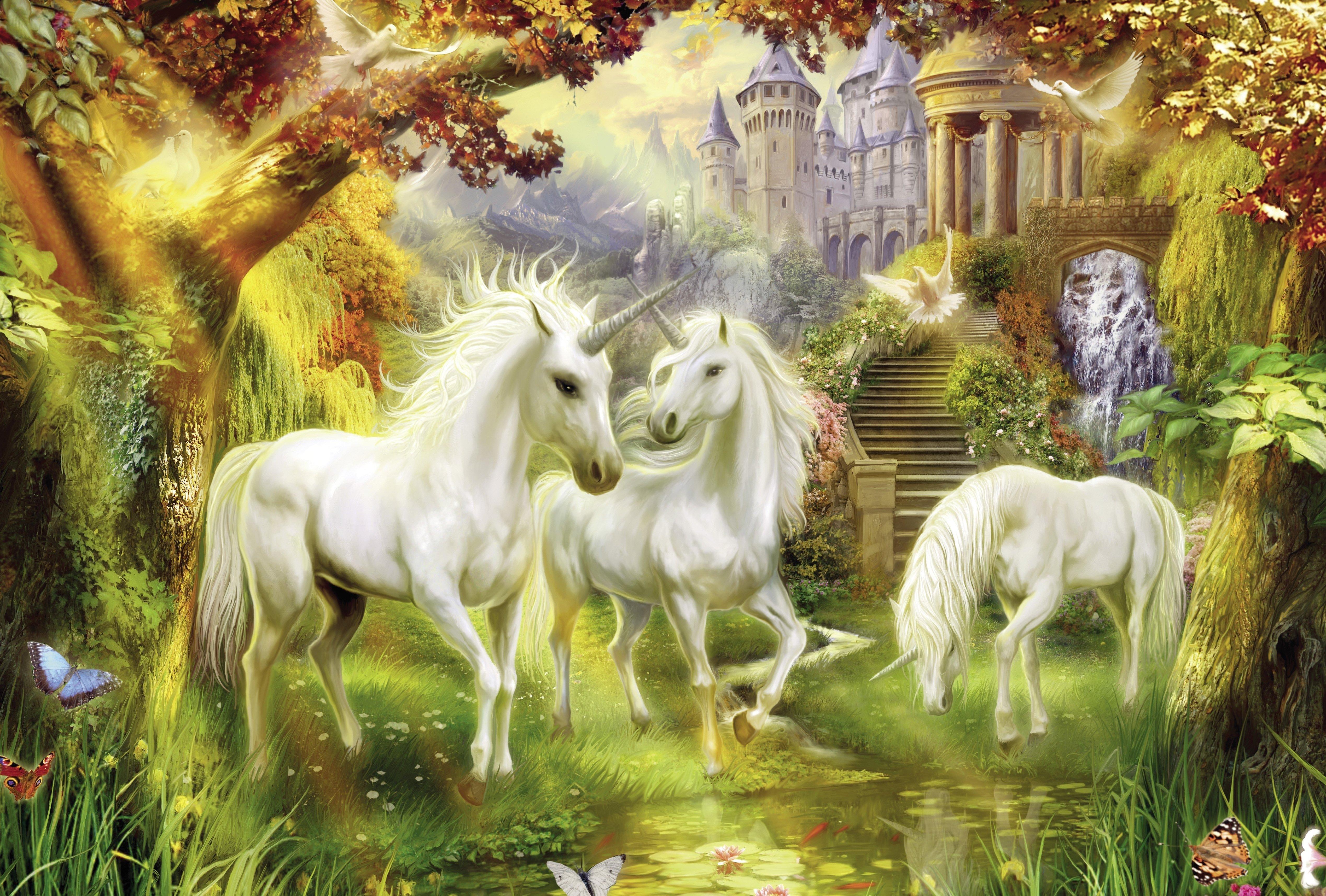 Unicorn fantasy horse tree forest animal wallpaper ...