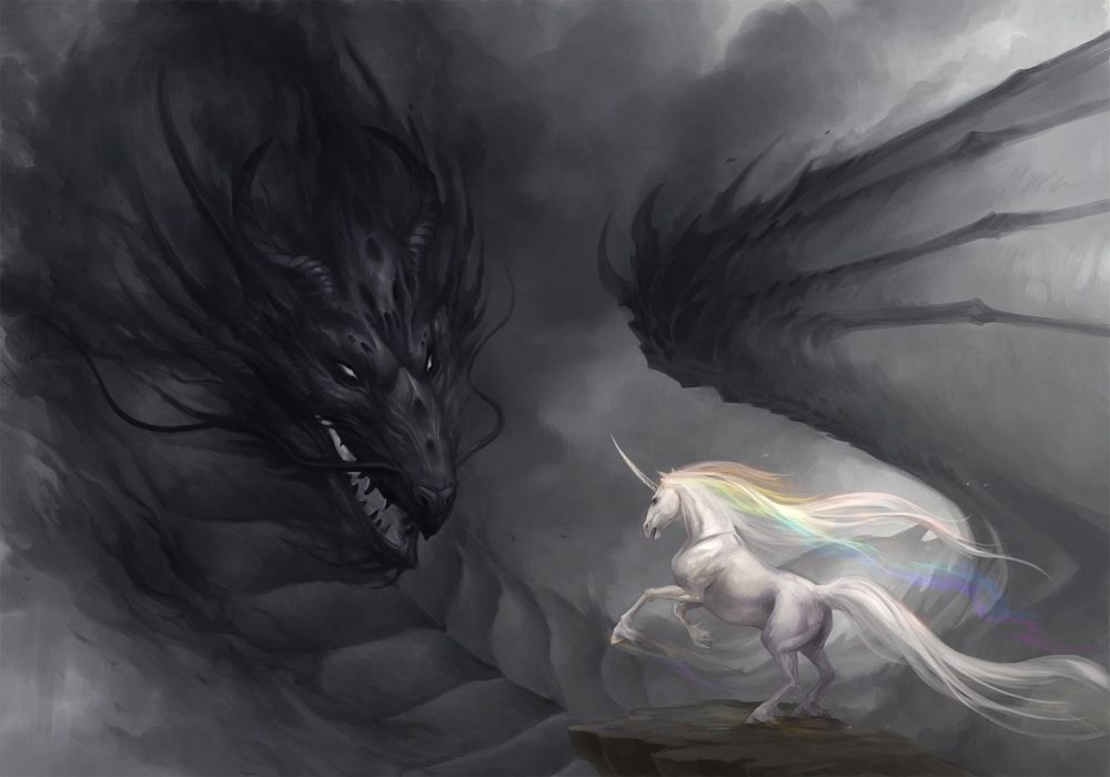 Art dragon unicorn rainbow gloom wallpaper