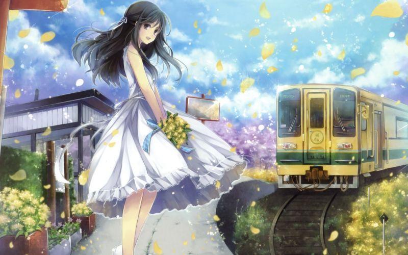 girl train bouquet Flowers Petals dress long hair joy smile wallpaper