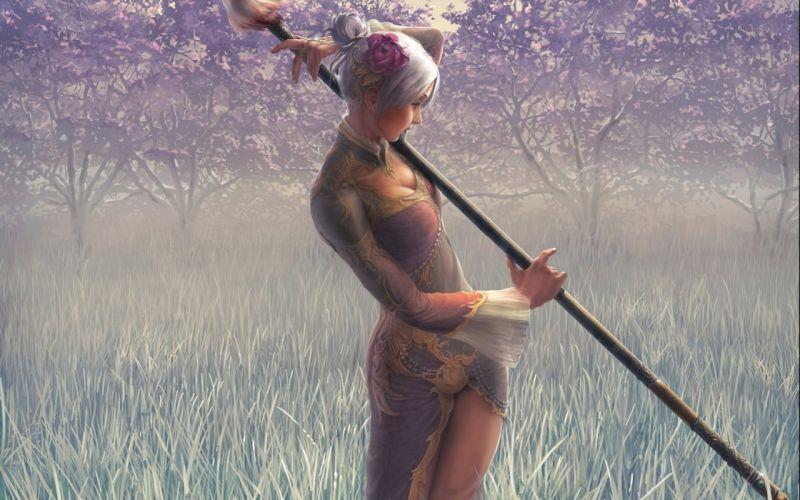 Art girl peony spear weapon dress grass Trees haze wallpaper