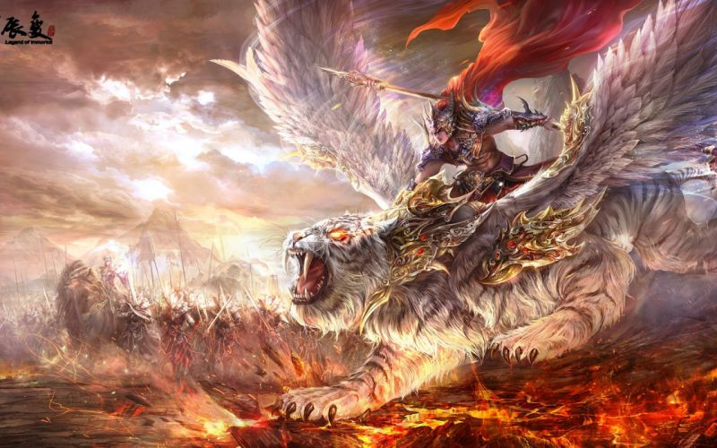 Warrior weapon tiger wings grin flame army magic wallpaper