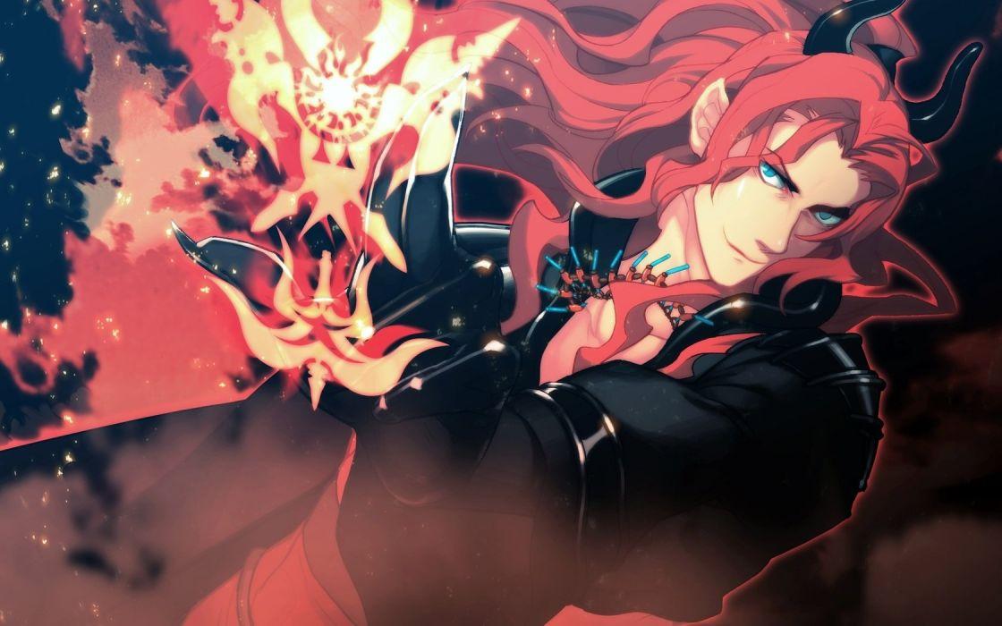Guy Magic Red Fire Anime Long Hair Blue Eyes Wallpaper