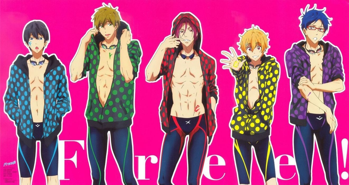 anime series free guy cute group pink background wallpaper
