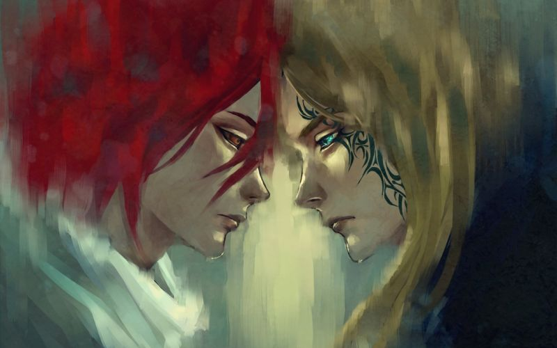 tattoo tattoo face to face Art love blue eyes red hair blond hair wallpaper