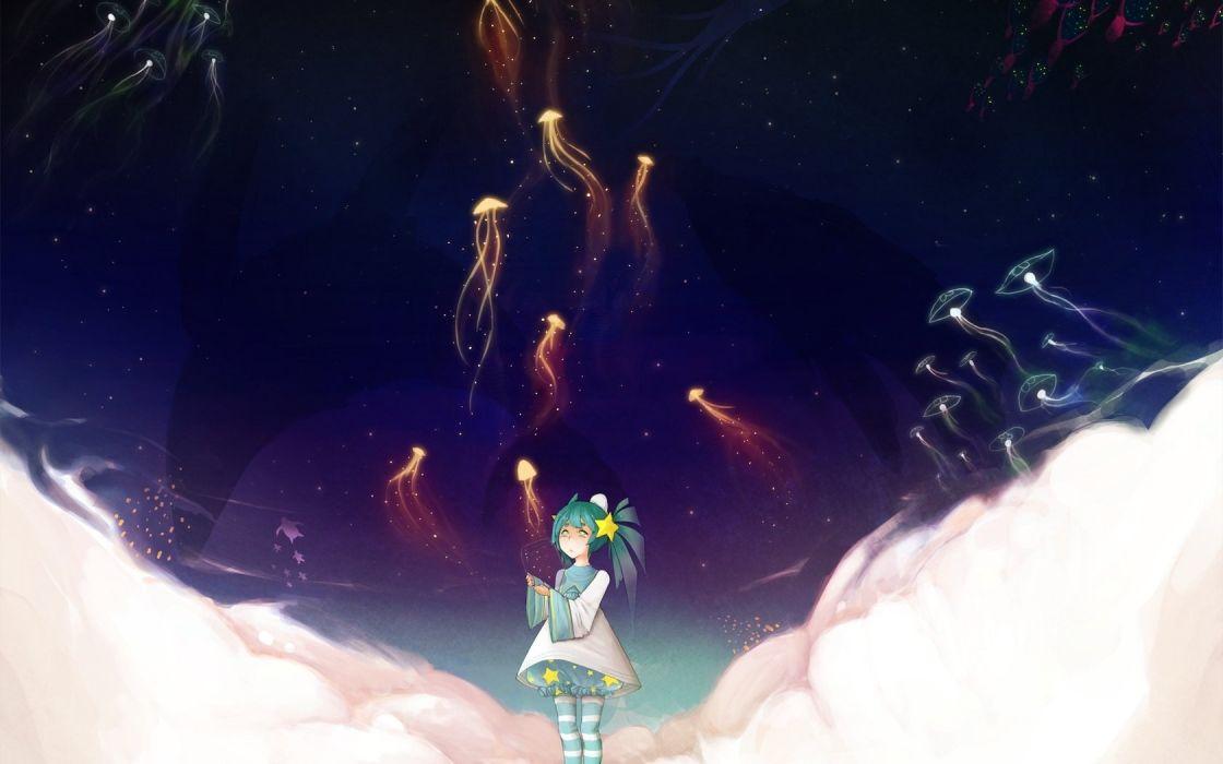 : Art girl Jellyfish clouds Star wallpaper