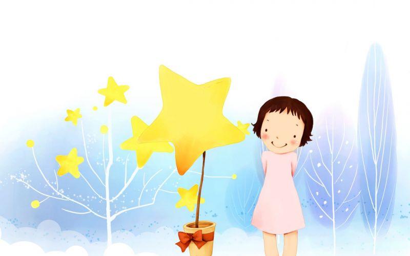 Children's wallpaper girl Dresses Trees branch pot star bow wallpaper