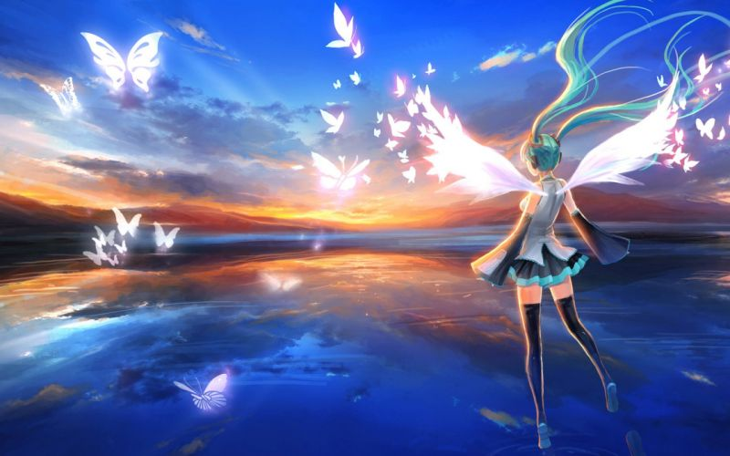 girl blue hair headphones wings dress Stockings sunset sky Butterflies wallpaper