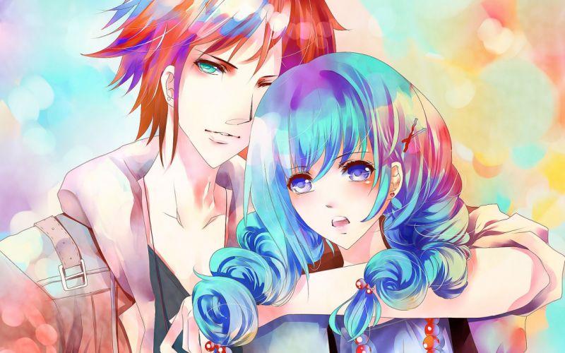 Art pair girl guy blue hair Red Beads wallpaper