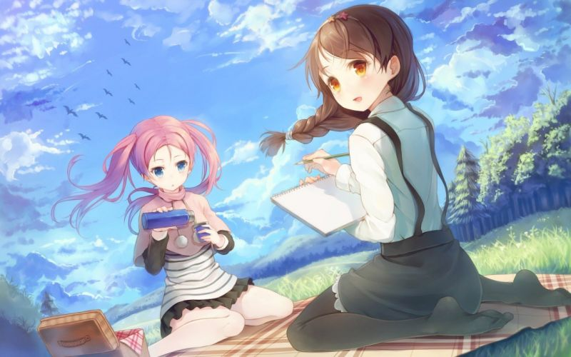 blue eyes blush open mouth brown hair two tail two girls clouds wallpaper
