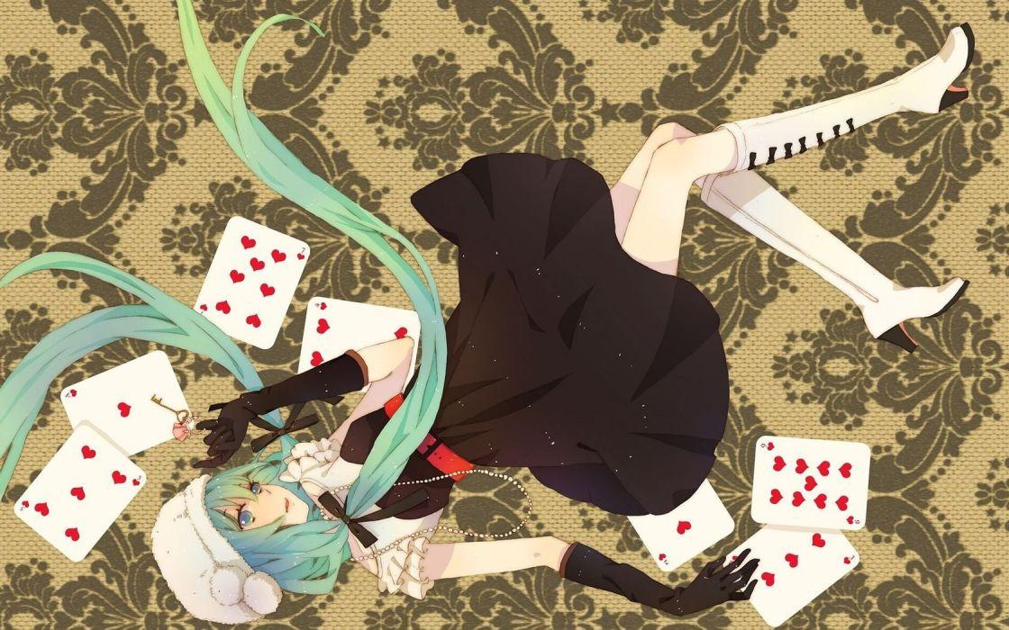 Hatsune Miku anime karty dress is girl blue hair Vocaloid wallpaper