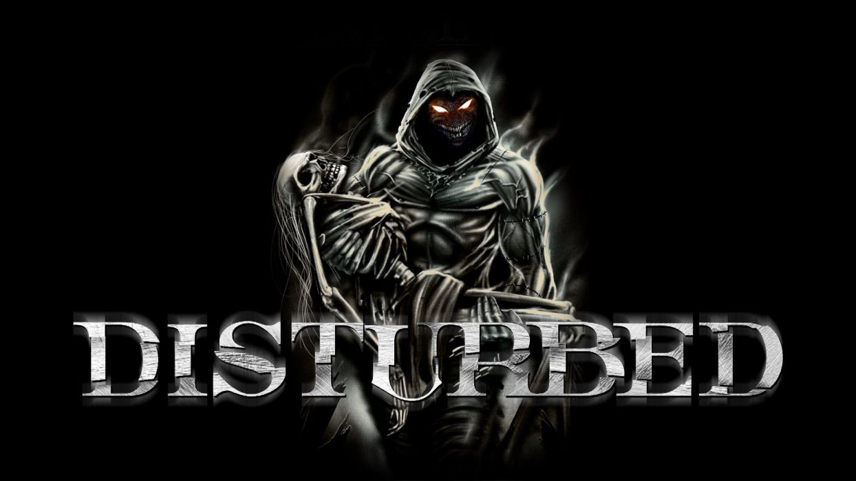 DISTURBED heavy metal alternative metal hard rock nu-metal dark demon reaper wallpaper