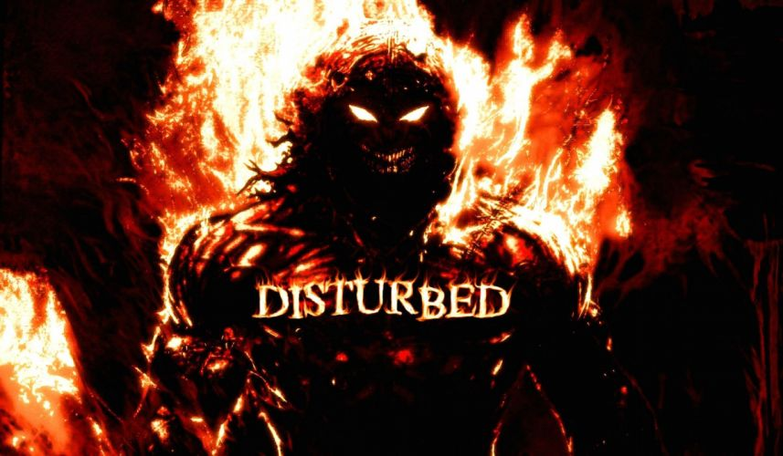 DISTURBED heavy metal alternative metal hard rock nu-metal dark demon reaper fire wallpaper