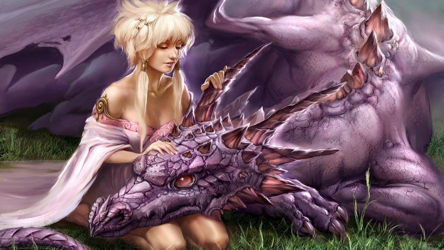 LOVING DRAGON - girl affection fantasy wallpaper
