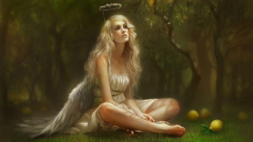 THOUGHTFUL ANGEL - girl fantasy wallpaper