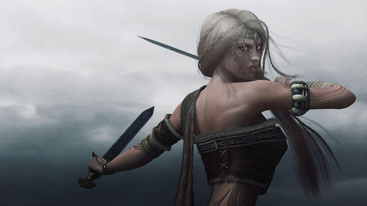 Viking Woman Girl Warrior Swords Tattoo Wallpaper 1920x1080