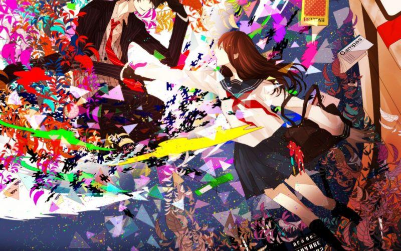 sky schoolgirl Notebook bag anime home lights girl Art Star Plants city guy wallpaper