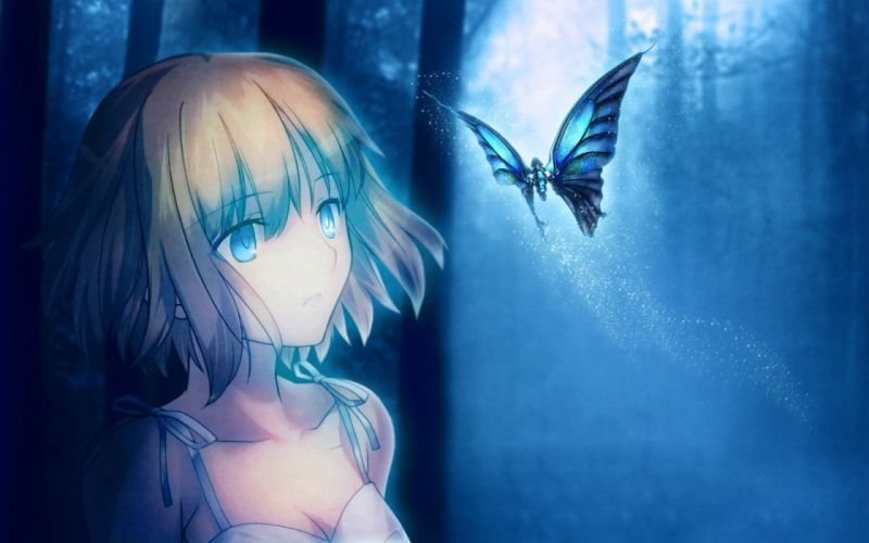 girl moon butterfly Art night blue wallpaper