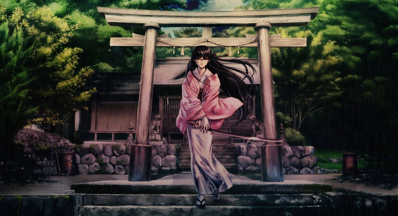 stage rain girl Katana sword kimono wallpaper