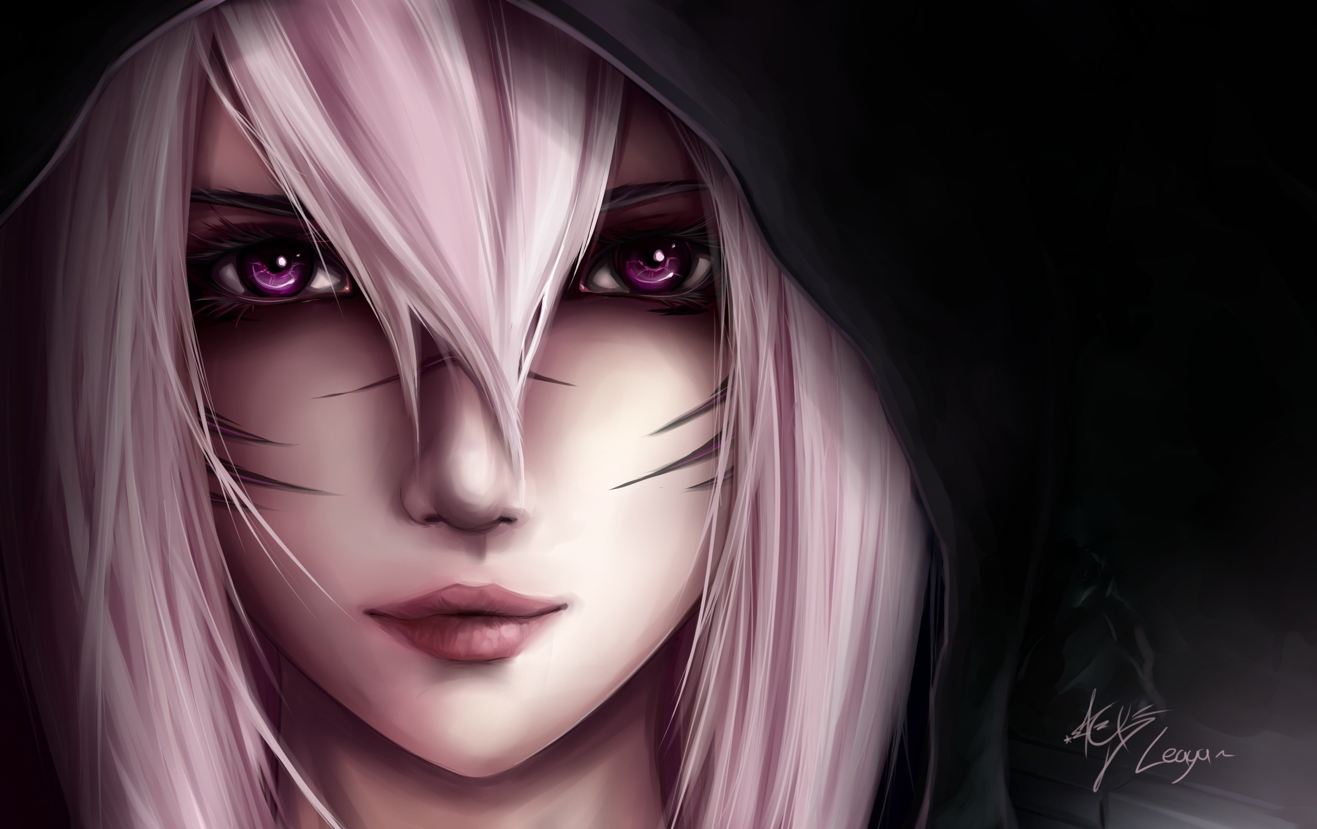 hood black background girl pink hair wallpaper | 2700x1700 | 493211
