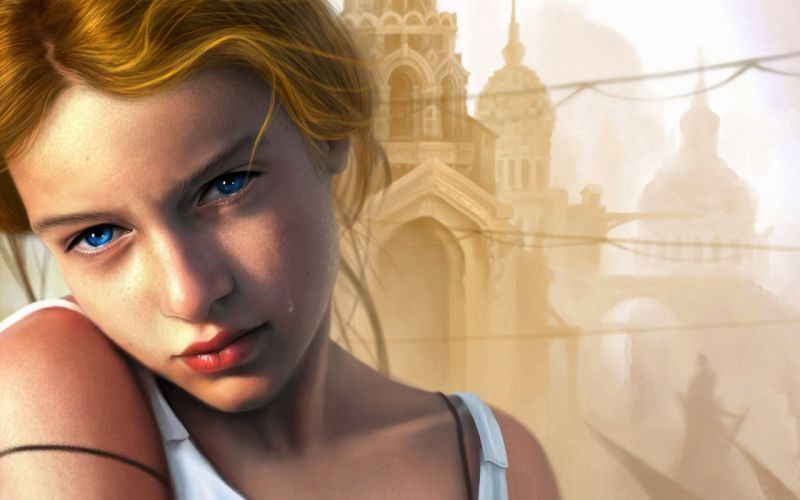 Art girl tear city Temples dome blonde cry blue eyes wallpaper
