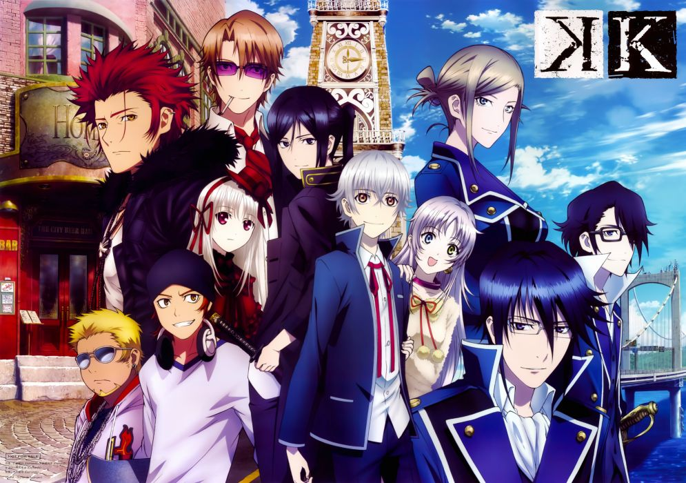 Anime Series K Project Group Friend Girls Guys Blue Sky Wallpaper