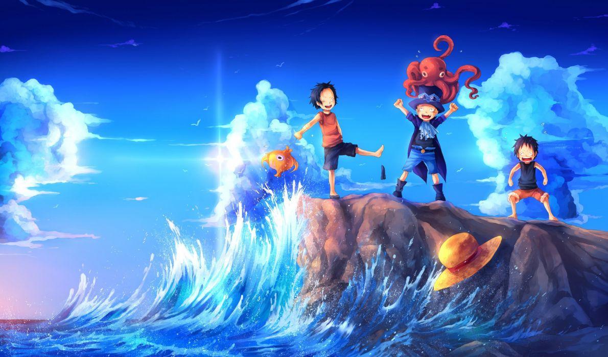 Anime Series One Piece Fun Sea Art Shore Waves Octopus Hat Small Fish Wallpaper 2550x1500 493219 Wallpaperup
