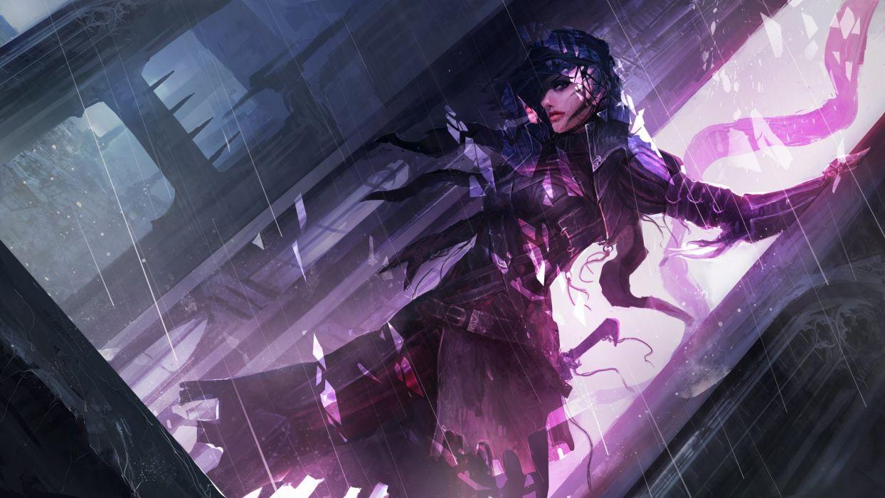 girl night dark rain sword warrior city wallpaper
