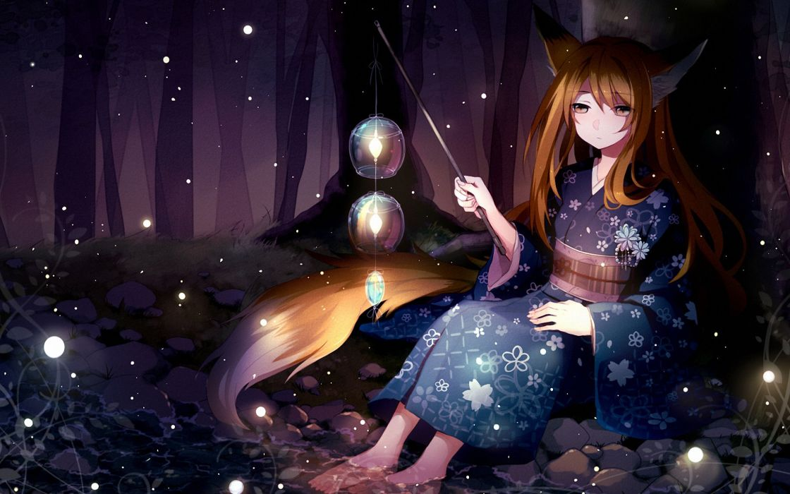 lights forest creek girl Art night wallpaper