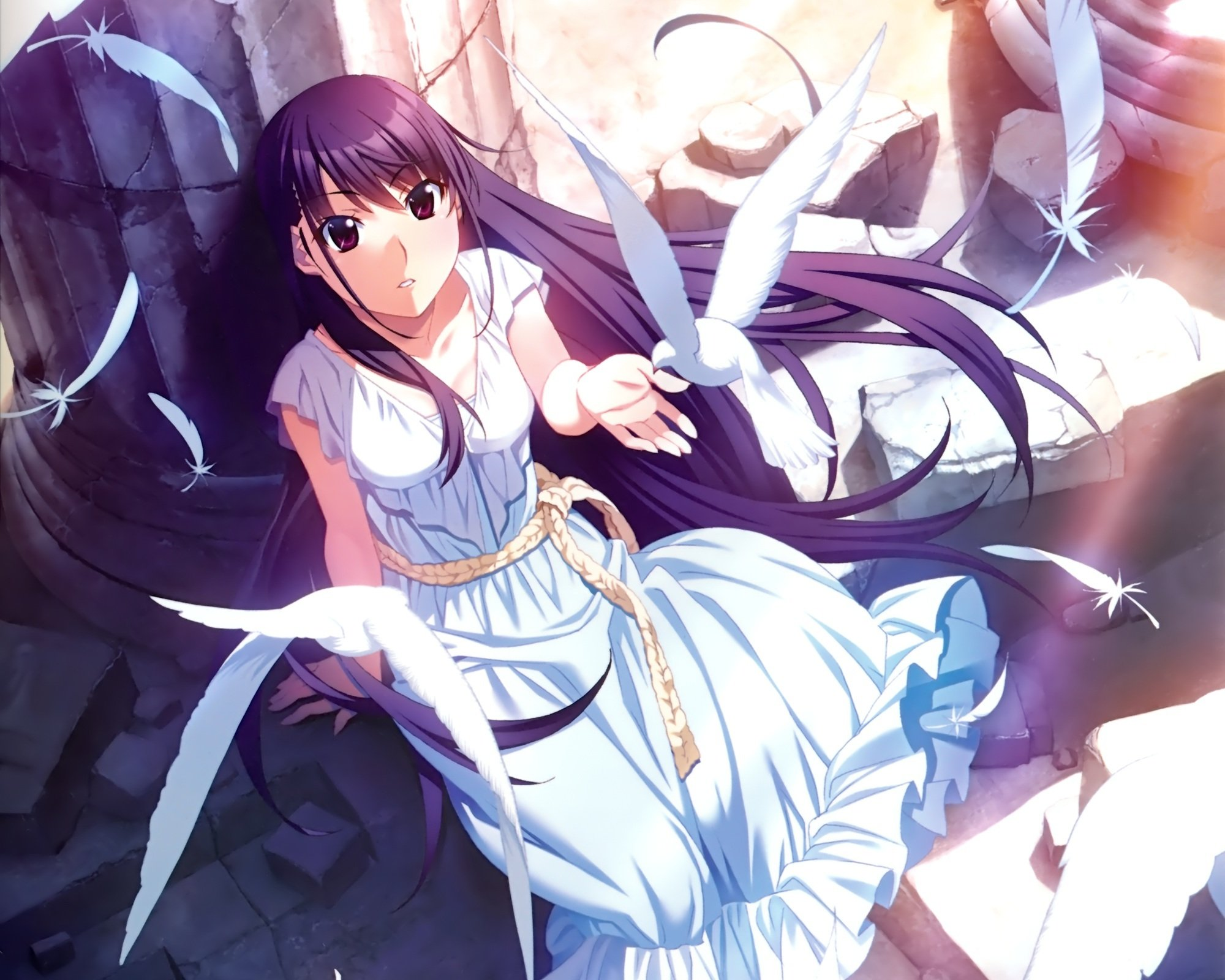 anime girls belts feathers - photo #10