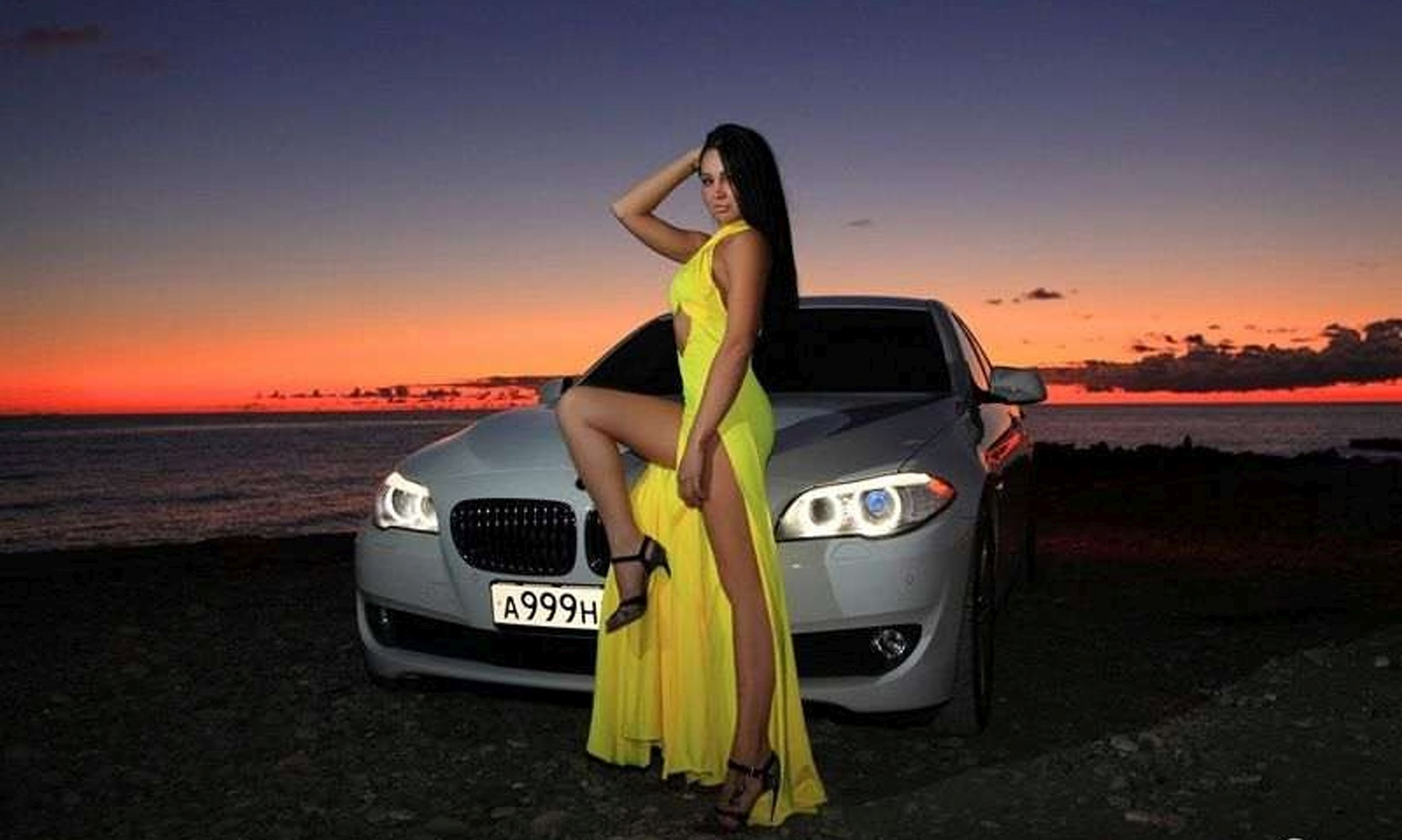 Bmw Girl Wallpaper By Jokensy: Yellow Pretty Sunset Girl BMW Wallpaper