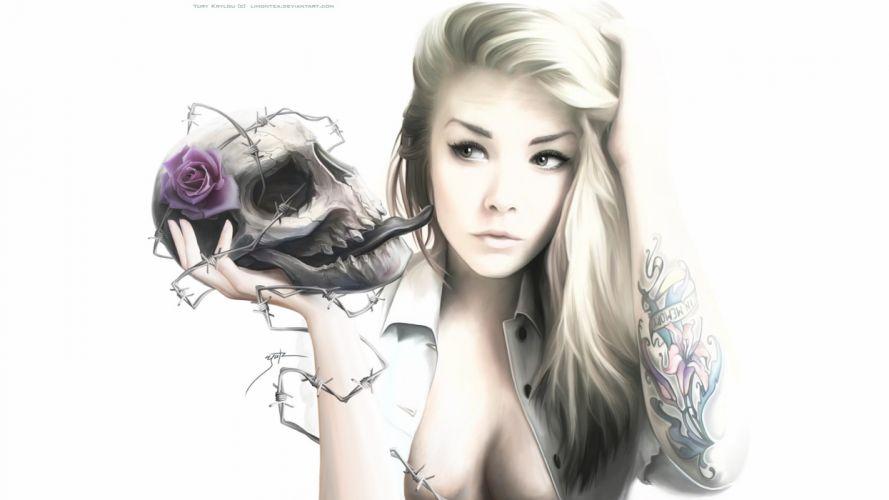 girl blonde skull rose wallpaper