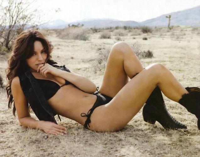 boots cowgirl brunette actress model mountains bikini Kelly Brook wallpaper
