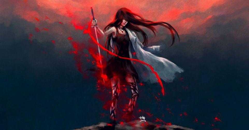 Tears girl cloak sword weapon wallpaper