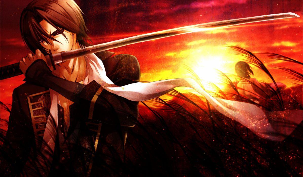 guy saber grass sun sunset sword wallpaper