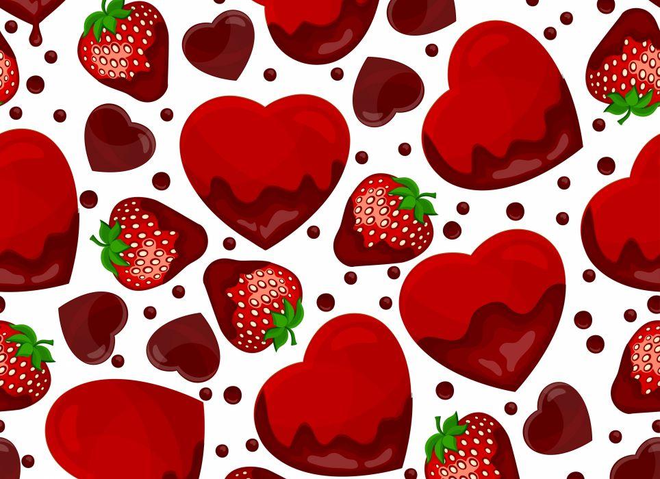 TEXTURE strawberry hearts wallpaper