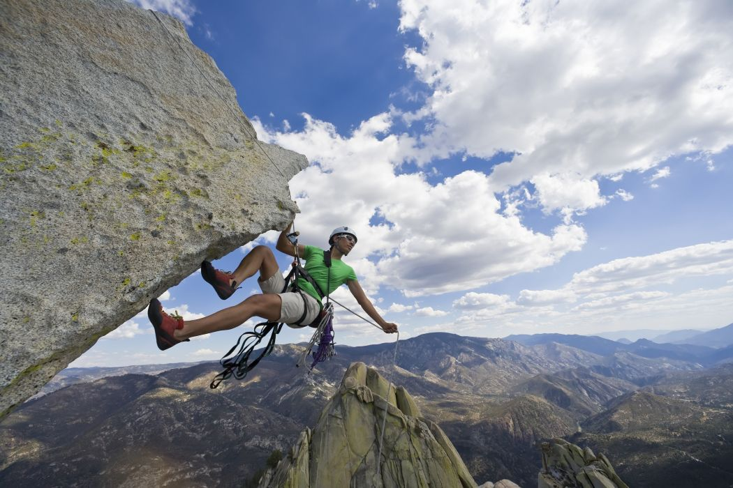 clouds sky Extreme rock climbing guy Sport Mountains wallpaper