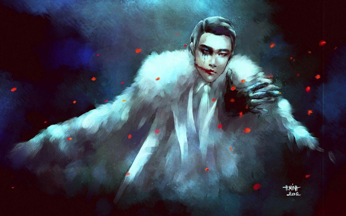 Art guy blood eyes Petals tie fur gloves wallpaper
