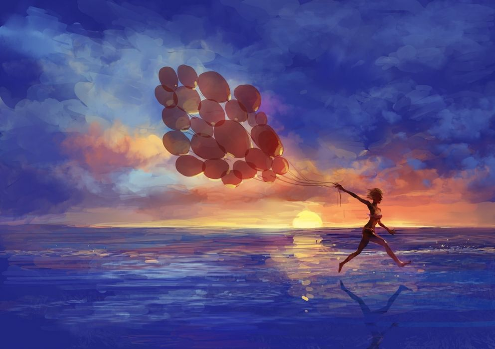 Art sea girl Balloons run emotions sunset wallpaper