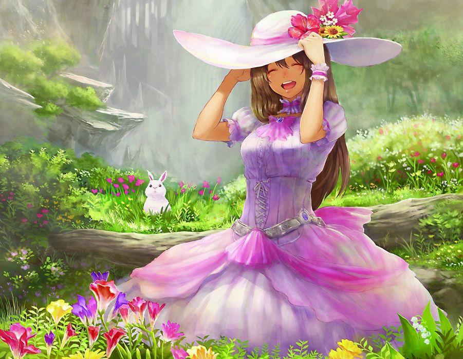 Art girl hat dress hare rabbit white emotions joy log Flowers wallpaper